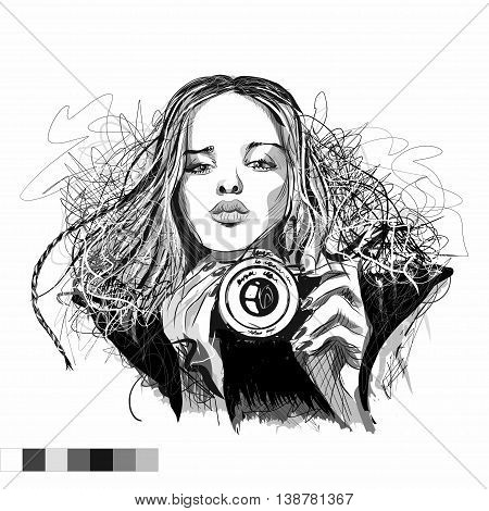 Art vector black and white illustration girl with camera