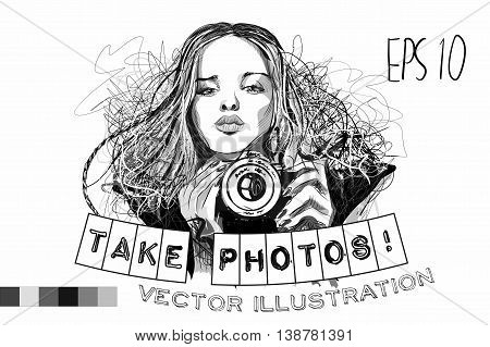 Black and white illustration girl with camera art vector