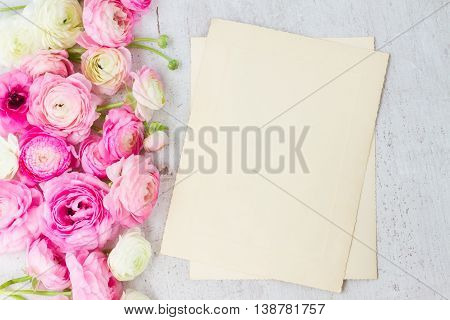Pink and white ranunculus flowers on aged white wooden background with copy space on aged paper notes