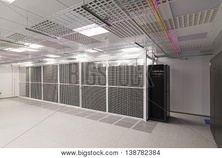 Empty server room of the modern data center.