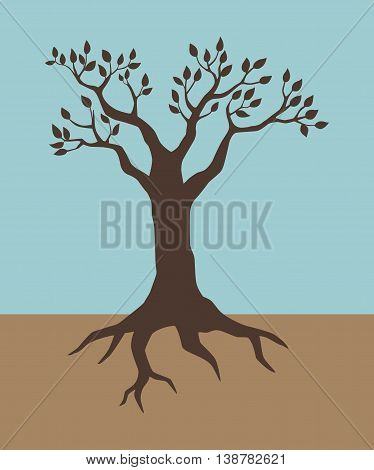 Illustration of a tree in vintage colour