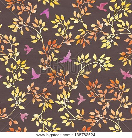Yellow leaves and cute birds for fashion design. Water color autumn seamless pattern in naive style