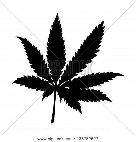 Silhouette illustration of marijuana (cannabis) or hemp leaf