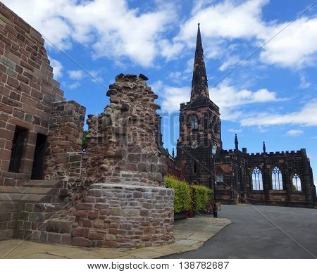 BIRKENHEAD, ENGLAND, JULY 3. Birkenhead Priory on July 3, 2016, in Birkenhead, England. Birkenhead Priory and Museum and St. Mary's Tower in Birkenhead England.