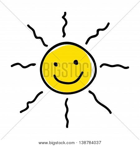 Doodle or naive art illustration of a sun