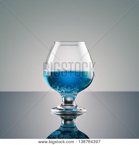 Drink In A Glass On Glossy Surface - Realistic Photo Image