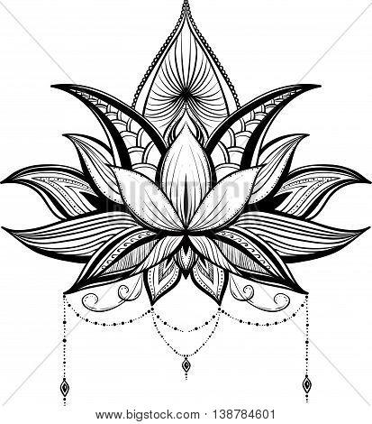 Filigree lotus flower black vector handdrawn illustration