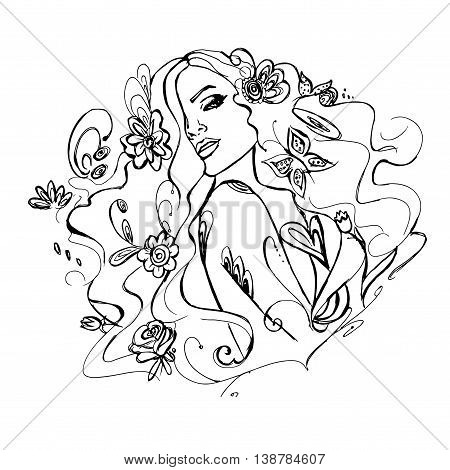 Young beautiful girl with flowers. Hand drawn vector stock illustration. Black and white whiteboard drawing.