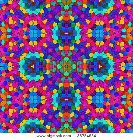 Abstract seamless texture of multicoloured mosaic kaleidoscope pattern for background