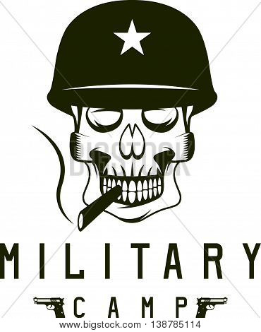 Military Camp Emblem With Smoking Skull And Guns
