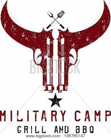 Two Guns In Form Of Bull Skull Military Bbq Grunge Concept