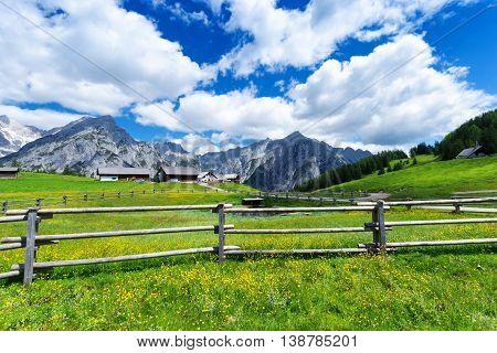 Idyllic scenery in the Karwendel mountains near Walderalm. Austria Tirol.