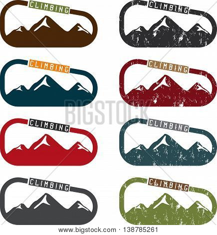 Climbing Vector Illustration Set With Mountains And Carabiner