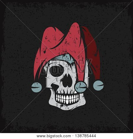 Skull In Jester Cap Grunge Vector Design Template