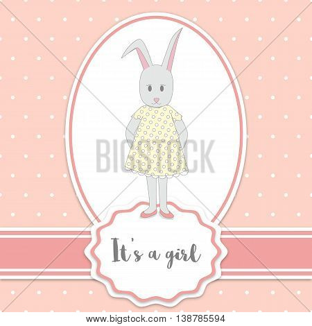 Baby shower card with bunny girl and polka dots background. It's a girl - lettering quote.