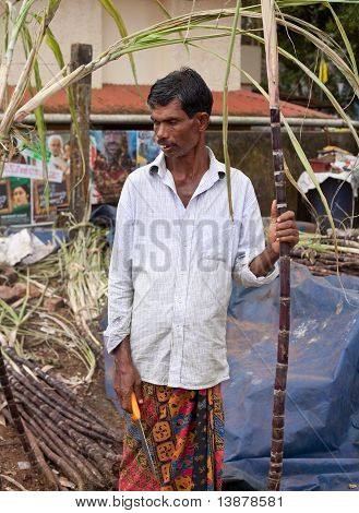 Kerala - December 30: Indian Man Sells Raw Sugarcane On December 30, 2010 In Kerala, India. As One O