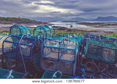 Crab and Lobster Creels on Scottish Coast of the Isle of Skye
