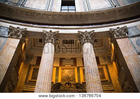 ROME, ITALY - APRIL 6, 2016: Pantheon interior