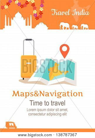 Travel India conceptual poster in flat style design. Summer vacation in exotic countries illustration. Journey to India vector template. Maps and navigation in a foreign country concept.