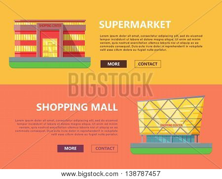 Supermarket web page horizontal templates. Flat design. Commercial building concept illustration for web design, banners. Shopping center, shopping mall, business center on color background.