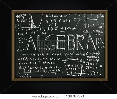 The illustration of beautiful black scientific background with handwriting typography. Algebraic class blackboard. Totally vector fully scalable image with typography handwritten text.