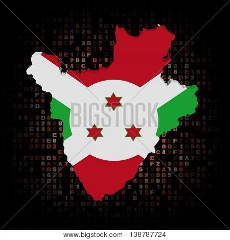 Burundi map flag on hex code 3d illustration