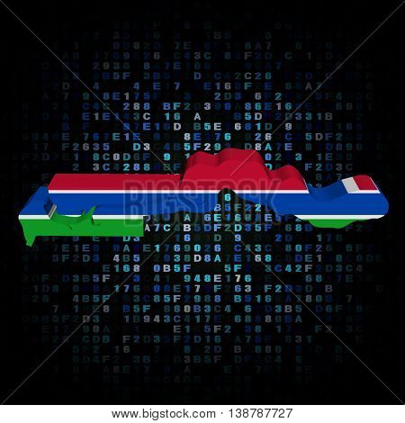The Gambia map flag on hex code 3d illustration