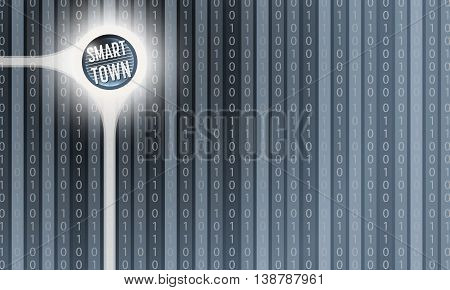 Vector abstract background with the words smart town and vertical binary code