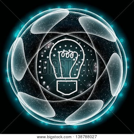 Vector blue abstract object and white bulb