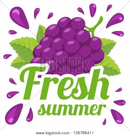 Fresh summer product sale template. Vector berry and text.