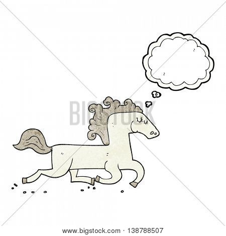 freehand drawn thought bubble textured cartoon running horse