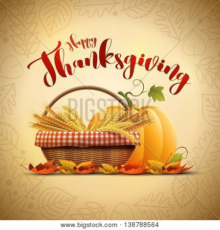 Vector autumn Happy Thanksgiving poster design template. Elements are layered separately in vector file.