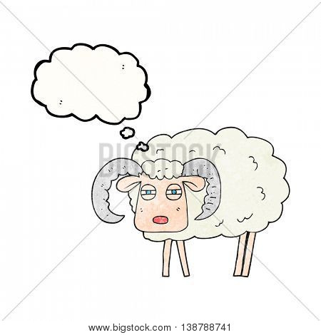 freehand drawn thought bubble textured cartoon ram