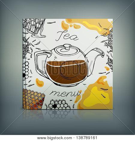 Beautiful Menu concept for an eating house, restaurant, coffee-room, tea-house, tea-room, tea-shop, cafe or roastery. Editable vector illustration based on a hand drawn elements.