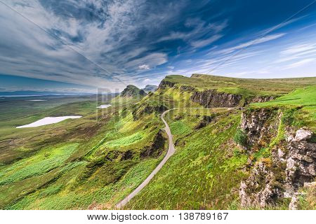 Northwest Part of Quiraing Hill - The Table on the Isle of Skye in Scotland
