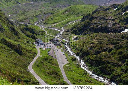 Beautiful mountain landscape alpine road through pass Switzerland