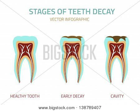 Tooth icon vector illustration. Medical concept in flat modern style. Editable colorful image on a white background. Logotype or infographics element.