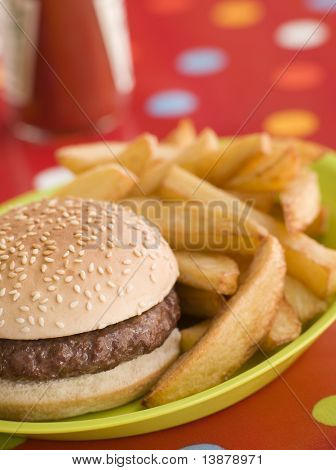 Beefburger in a Sesame Seed Bun with Chunky Chips