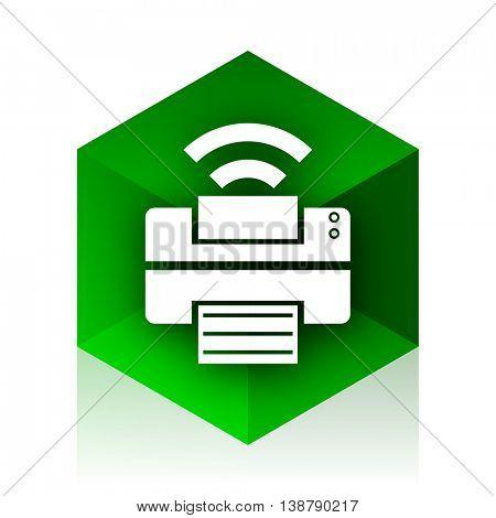 printer cube icon, green modern design web element