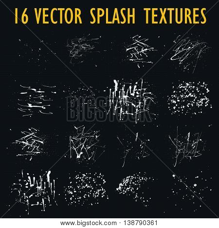 Set of 16 grungy artistic textures. White messy hand drawn drops, splashes, blots and stains isolated on black background. Qualitative trace of real paint and ink