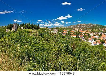 Town of Drnis green landscape view inner Dalmatia Croatia