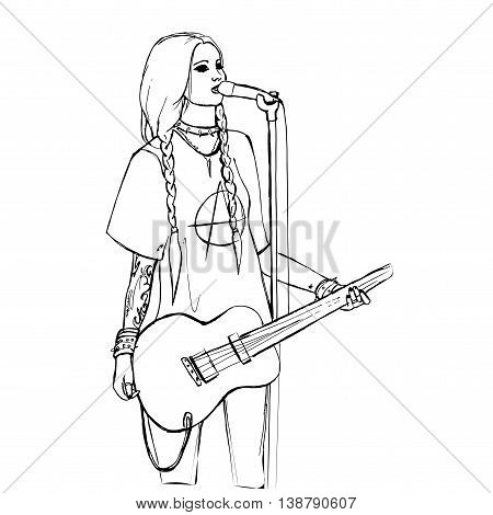 Rock girl with guitar. Rock star. Hand drawn vector stock illustration. Black and white whiteboard drawing.