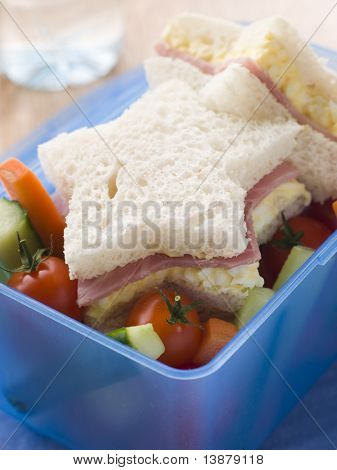 Star Shaped Egg Mayonnaise and Ham Sandwich with Crudities