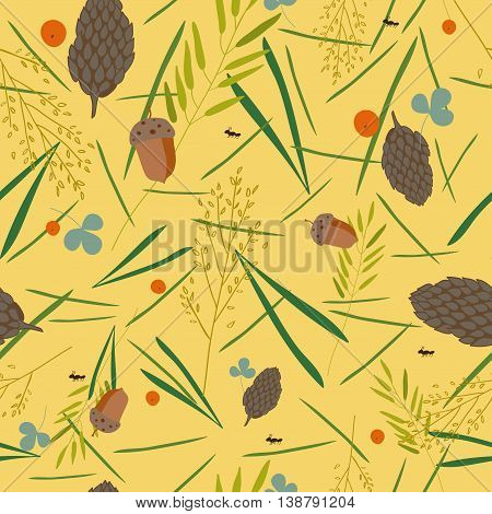 pattern with the image of the forest cones fir needles leaves blades of grass acorns and ants on a yellow background