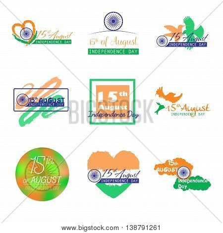 Set of India independence day typographic vector design. Felicitation 15th august. Greeting template for web or print emblem, badge, label, logo design.