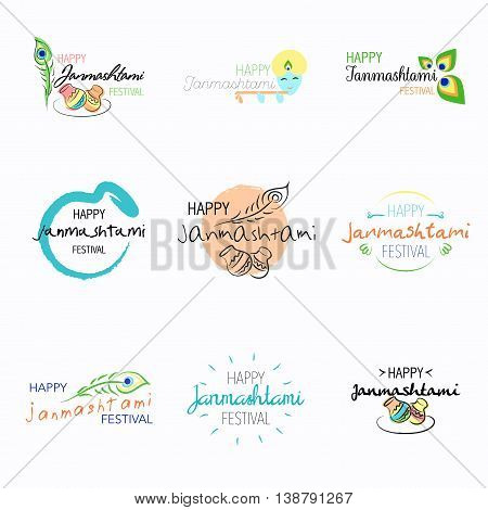 Set of Happy Janmashtami festival typographic vector design with text, pots, Lord Krishna, flute and peacock feather. Usable for banners, greeting cards, t-shirts, print.