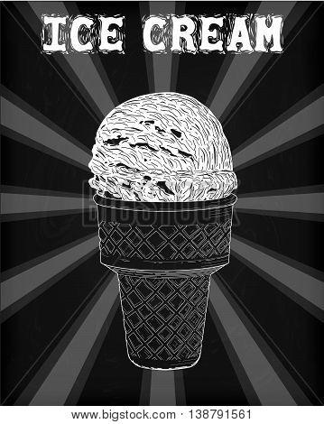 Icecream Soft Serve Scoop, Tasty  Ice Cream Cone With Natural Delicious Organic Vanilla Creamy Taste