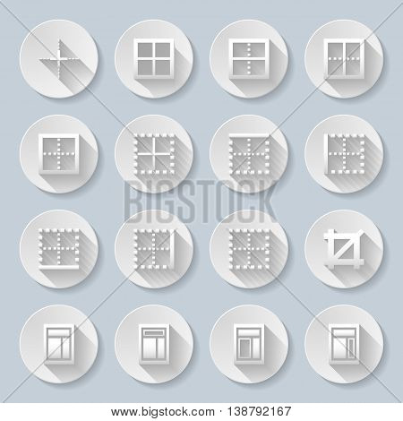 Set of flat round icons on the gray background