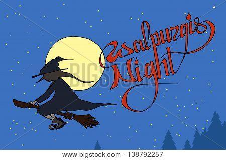 Walpurgis Night sky. Witch flying on broom. Hand drawn vector stock illustration.
