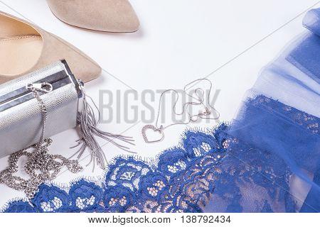 Woman Clothes And Accessories. Soft Blue Colors Female Apparel. Pale Colors Fashion Set